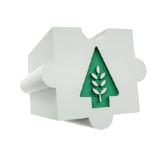 Dílek puzzle se stromem na zeleném pozadí