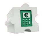 Dílek puzzle s kalkulačkou na zeleném pozadí, euro