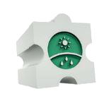 Dílek puzzle se zeleným pozadím, slunce, déšť