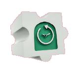 Puzzle se zelenými hodinami.